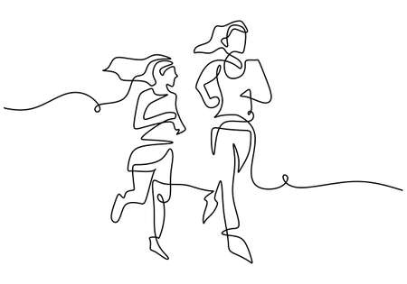 Continuous line drawing of young mother run together with her teenager girl in the morning. Happy mom and daughter doing exercise at the field park. Family loving care concept. Vector illustration Ilustracja