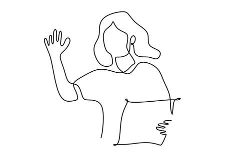 Continuous one line drawing of happy girl standing in a bedroom raises her hand while holding paper. Education concept. Character woman in online class. Vector illustration on white background