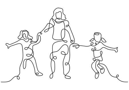 Happy mom with her two children in continuous line art drawing style. Young mother holding her children and walking together isolated on white background. Family concept. Vector illustration Ilustracja