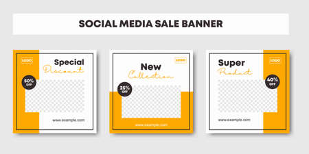 Set collection of editable minimal square banner template. Black and yellow background color background for social media post and web internet ads. Fashion sale promotion. Vector illustration