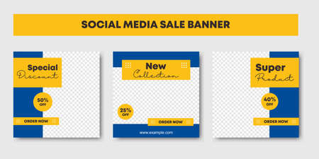 Set of Editable minimal square banner template with yellow and blue color combinations. Promotion brand fashion. Suitable for social media post and web internet ads. Vector illustration Ilustracja