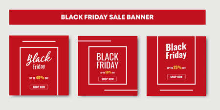 Black Friday Fashion Sale social media post trendy design. Advertisement elements, square with red colors. Good for web and internet ad. Ilustracja
