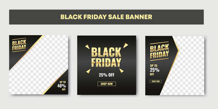 Luxury black friday social media post, template set design for promotion and marketing ad. Gold color and black. Internet and web graphic cover for mobile and smartphone product display.