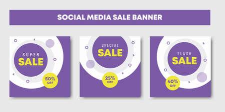 sale social media post design templates vector set, backgrounds with copyspace. Fashion sale banner template for social media post.