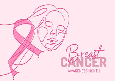 Continuous one line art background of National Breast Cancer Awareness month with pink ribbon and abstract woman face isolated on pink background.