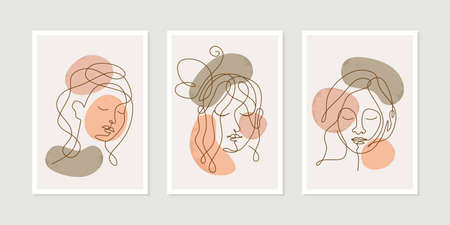 Continuous one line woman faces. Linear design templates female portrait with butterfly for wall decoration, postcard or brochure cover design.