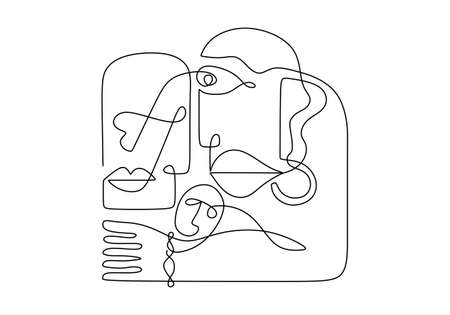 Abstract continuous line art of face people. Contemporary abstract one line continuous drawing faces and hand. Minimalism art isolated on white background. Ilustracja