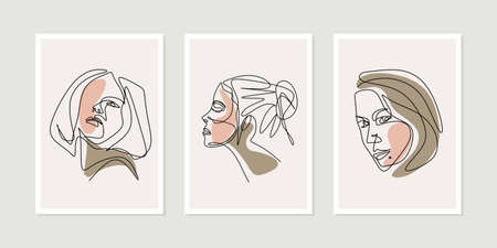 Continuous one line of contemporary woman faces silhouettes with colored shapes. Set of three Modern abstract faces girls.