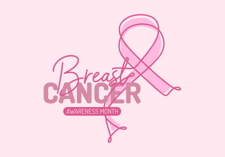 Continuous one line art background of National Breast Cancer Awareness month with pink ribbon isolated on pink background. Ilustracja