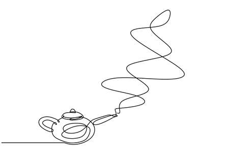Continuous single line of Aladdin teapot with abstract smoke coming out. One line of Magic lamp isolated on white background. Ilustracja