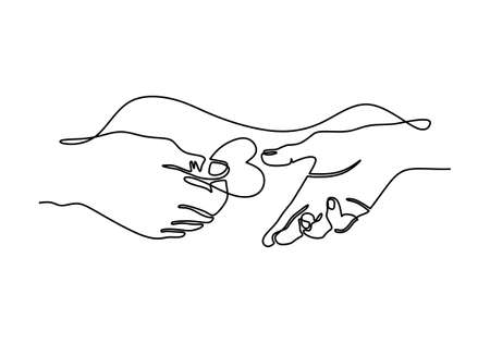 Continuous one line drawing of parent giving love heart shaped to child. Mom and dad loving care parenting concept. Family insurance sign symbol. Charity day one line.