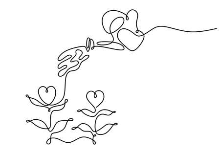 Continuous one line drawing of spraying water pouring water to heart shaped plant for charity day concept isolated on white background.