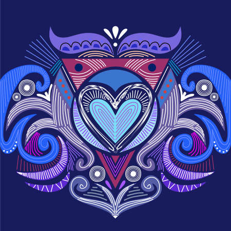 Abstract heart shaped tribal ornament. Ethnic mandala. Stylized heart shaped symbol. heart shaped of geometric elements. Tribal ethnic motif. Blue color background.