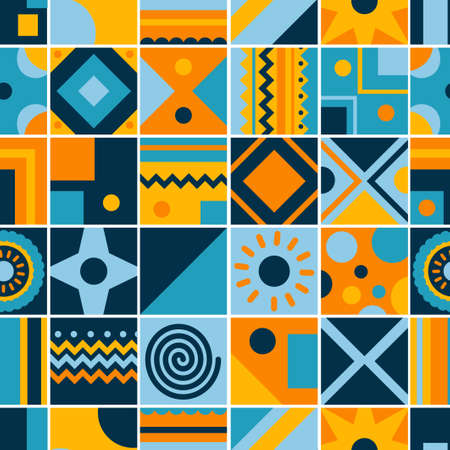 Seamless pattern of tribal tiles. Square tribal ornaments pattern. Abstract rectangle ornaments. Decorative colorful patterns Tribal ethnic motifs. Ilustracja
