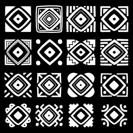 Set of tribal tiles isolated on black background. Square tribal ornaments set. abstract rectangle ornaments. Decorative patterns Tribal ethnic motifs. Stylized sun symbols. Stencil tattoo and prints monochrome.