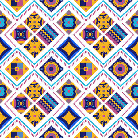 Seamless pattern of tribal background. Square tribal ornaments pattern. Abstract rectangle ornaments. Decorative colorful patterns Tribal ethnic motifs for wallpaper. Ilustracja