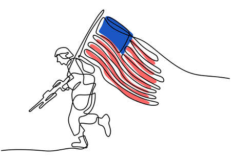 Continuous one line drawing of patriot day background with american flag and running soldier bring gun isolated on white background.
