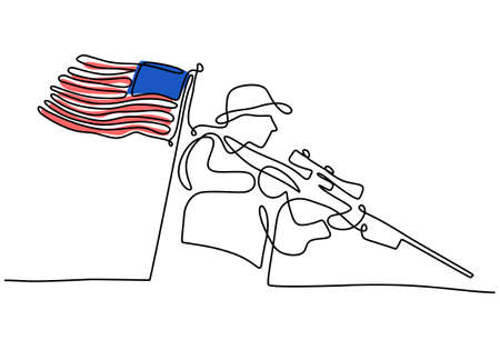 Continuous one line drawing of patriot day background with american flag and soldier bring gun isolated on white background.
