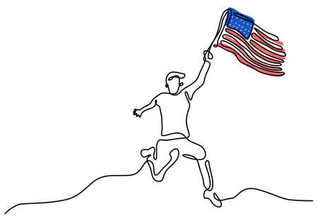 Continuous one line drawing of patriot day background with a running man bring american flag isolated on white background.