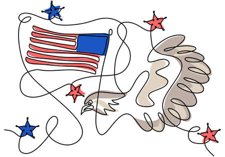 Continuous one line drawing of patriot day background with american flag ,stars and eagle isolated on white background.