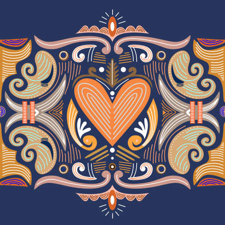 Abstract heart shaped tribal ornament. Ethnic mandala. Stylized heart shaped symbol. heart shaped of geometric elements. Tribal ethnic motif. Blue orange color background.