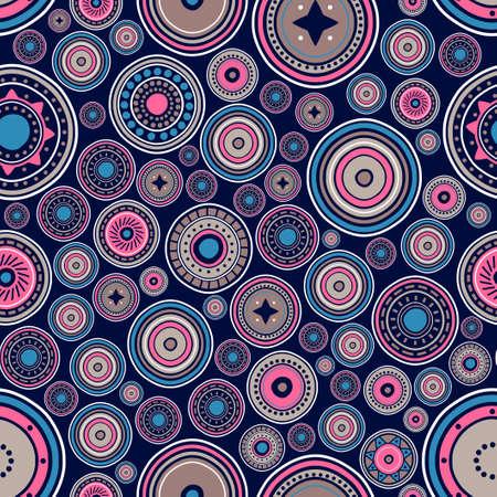 Seamless pattern of abstract circular tribal ornament. Tribal ethnic motif. Ethnic mandala. Stylized sun symbol. Rosette of geometric elements. Round color background. Ilustracja