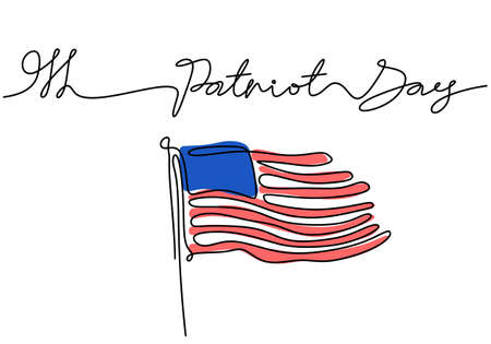 Continuous one line drawing of patriot day background with american flag with patriot day word isolated background. Ilustracja