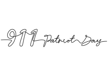 Continuous one line drawing of 911 patriot day letter word hand written isolated on white background.