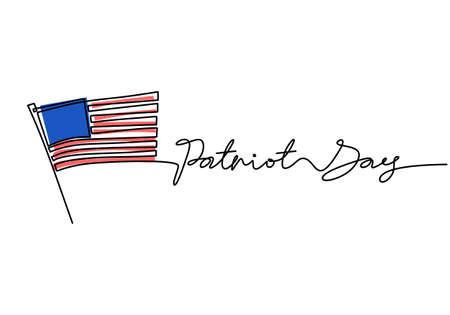 Continuous one line drawing of patriot day with american flag and patriot day word hand written letter isolated background.
