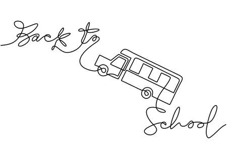 Continuous one line drawing of back to school handwritten words with school bus isolated on white background. Ilustracja
