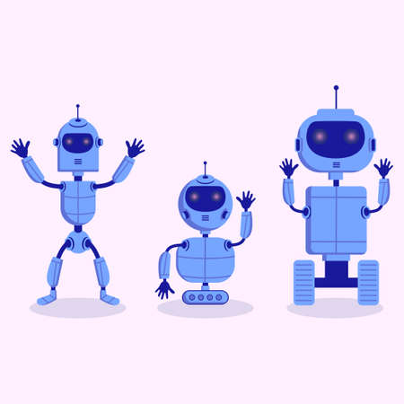 Three modern cute grey robot in scandinavian childish style isolated on white background for children toys.