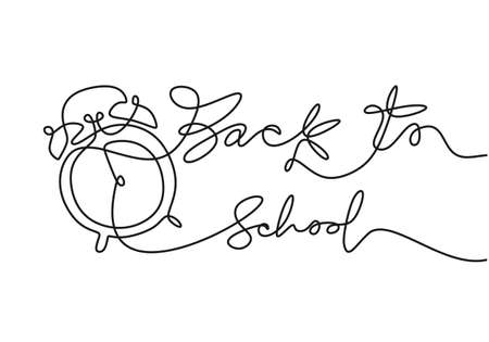 Continuous one line drawing of back to school handwritten words with alarm clock isolated on white background.