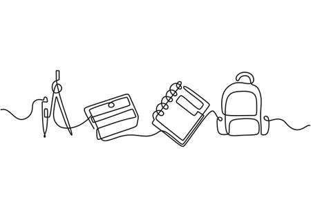 Continuous one line drawing of back to school handwritten words with note book, bag and calipers isolated on white background.