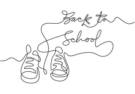 Continuous one line drawing of back to school handwritten words with school shoes isolated on white background. Ilustracja