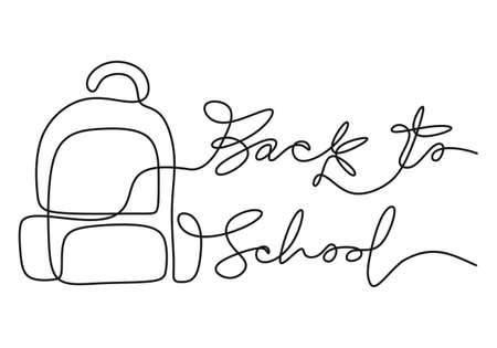 Continuous one line drawing of back to school handwritten words with school bag isolated on white background.