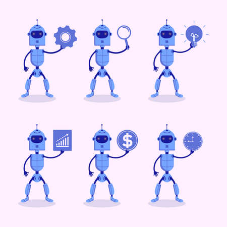 Set of six modern robot holding business element such as dollar, gear, lamp, clock, graphic, statistic isolated on white background.