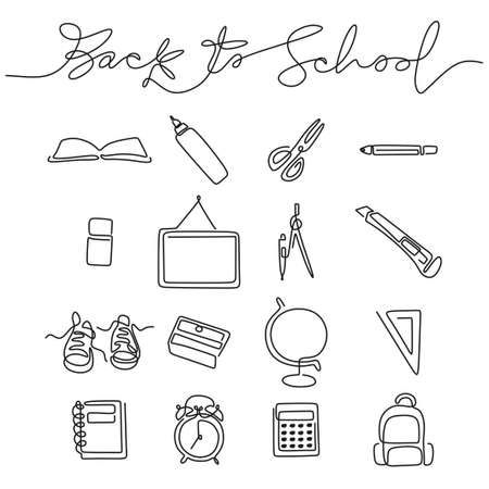 Continuous one line drawing of back to school handwritten words with note book, pencil, book, board, scissor, cutter, calipers, shoes, bag, calculator, alarm clock and globe.