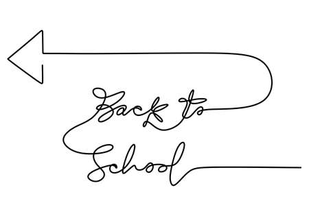 Continuous one line drawing of back to school handwritten words with arrow navigation isolated on white background.