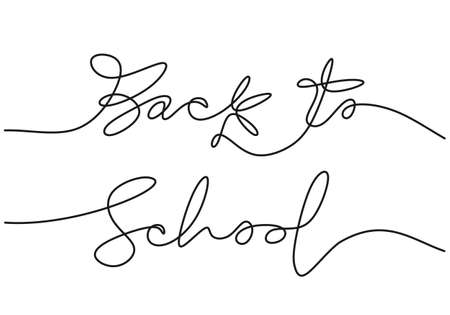 Continuous one line drawing of back to school handwritten words isolated on white background. Ilustracja