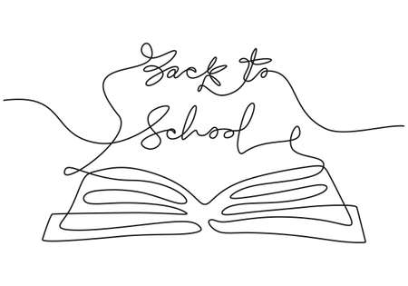 Continuous one line drawing of back to school handwritten words with opened book isolated on white background.