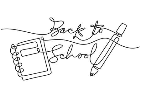 Continuous one line drawing of back to school handwritten words with note book and pencil isolated on white background. Ilustracja