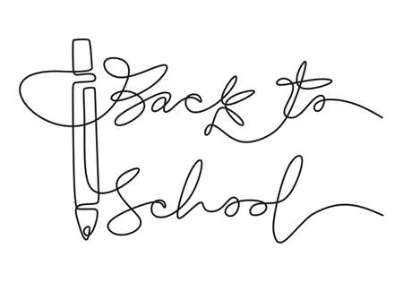 Continuous one line drawing of back to school handwritten words with big pencil isolated on white background.