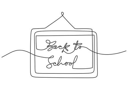 Continuous one line drawing of back to school handwritten words with school board isolated on white background.
