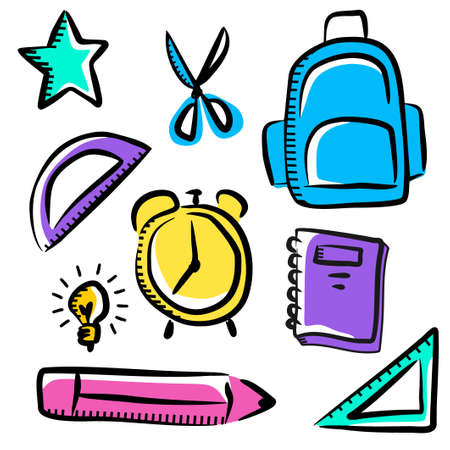 Back to school element with star, book, bag. scissor, ruler, pencil; alarm clock, bulb lamp. Set of school stuff isolated on white background.
