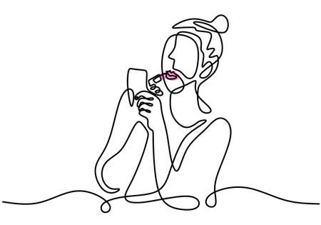 Continuous single line drawing of woman using lipstick on her lips in front of small mirror. Woman make up theme one line isolated on white background. Ilustracja