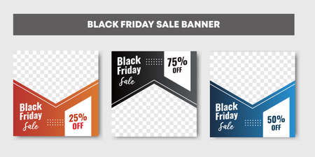 Three set of orange, black and blue Black friday sale background banner with 25, 50 and 75 percent discount.