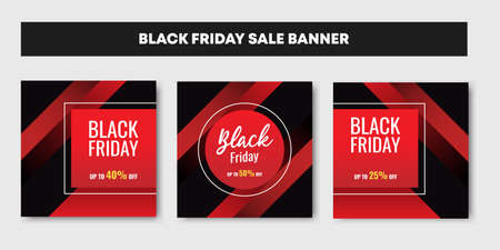 Three set of red Black friday sale background banner with geometric shape.