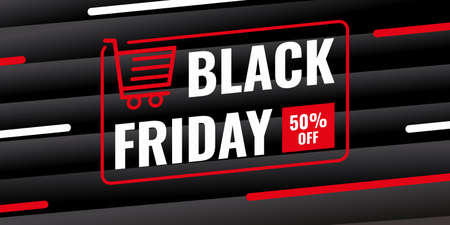 Black friday sale background banner with red trolley and 50 percent discount sale isolated on black background.