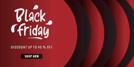 Black friday sale background with 40 percent discount on red background. Ilustracja