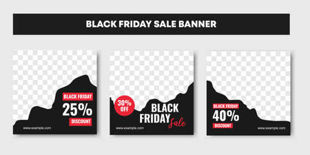 Three set of black and white, Black friday sale background banner with 25, 30 and 40 percent discount sale.